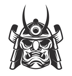 samurai warrior helmet isolated on white vector image
