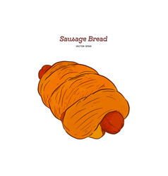 Sausage baked in dough hand draw sketch vector