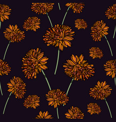 Seamless floral pattern with calendula flowers vector