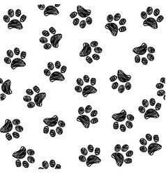 seamless pattern with doodle dog and cat paws vector image