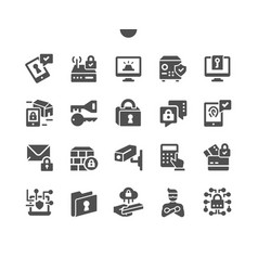 Security well-crafted pixel solid icons vector