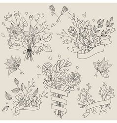 set hand drawn cute floral bouquets retro vector image