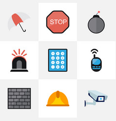 Set of 9 editable security flat icons includes vector