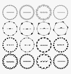 set of heart round frames for decoration vector image