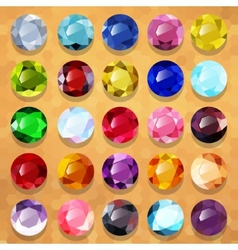 Set of multicolored precious stones round vector