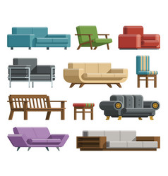 Set of sofas and armchairs in cartoon flat style vector