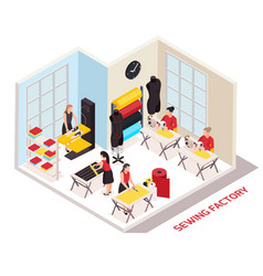Sewing factory isometric composition vector