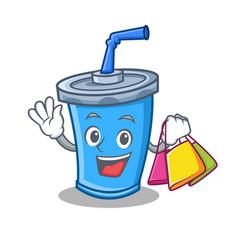 Shopping soda drink character cartoon vector
