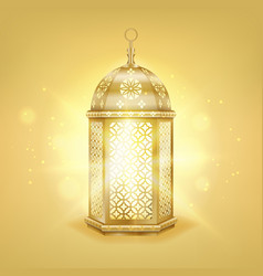 single realistic gold arabic lantern - shiny gold vector image