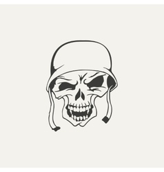 skull in helmet Black and white vector image