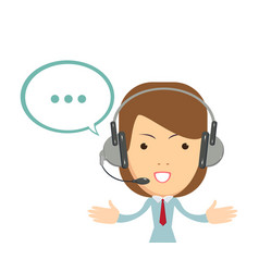 smiling female operator with headset working at vector image