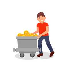 smiling young man with mining trolley full of vector image
