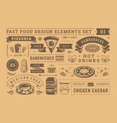 street and fast food signs and symbols with retro vector image