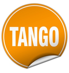 Tango round orange sticker isolated on white vector