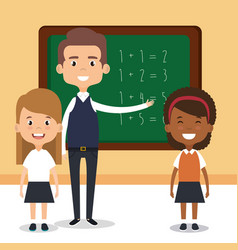 teacher school with chalkboard avatar character vector image