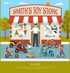 Toy shop flat background vector