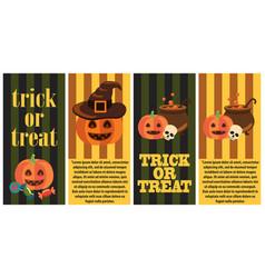 trick or treat postcard halloween congratulation vector image vector image