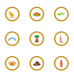 trip to wild australia icons set cartoon style vector image