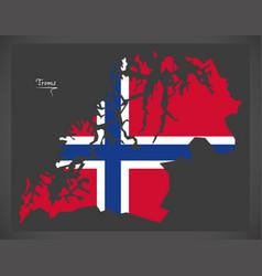 Troms map of norway with norwegian national flag vector