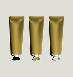 Tubes for packaging gold set vector