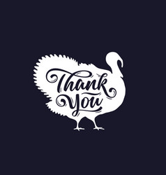 turkey thank you lettering typography vector image