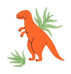 two tillandsia plants with a cute dinosaur pot vector image