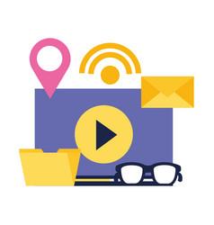 video content folder email internet social media vector image