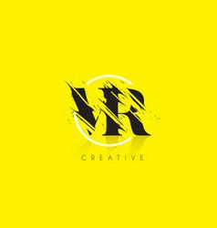 vr letter logo with vintage grundge drawing vector image