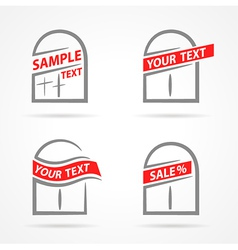 Windows set emblem label your text element icons vector