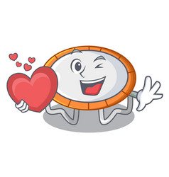 With heart trampoline icon for vector