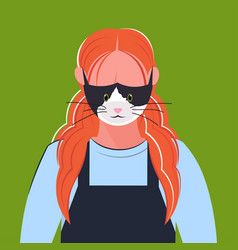 Woman wearing protective mask with cat face smog vector
