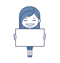 Woman with white board vector