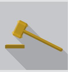 wood gavel icon flat style vector image