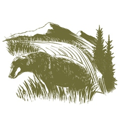 Woodcut Bear Scene vector