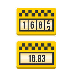 Yellow taximeter icon set flat style vector