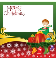 2012 christmas card with boy gifts and socks vector image vector image