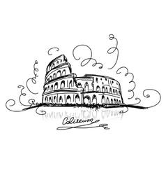 Sketch of roman colosseum vector