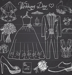 Wedding day elements Hand drawn set with flowers vector image