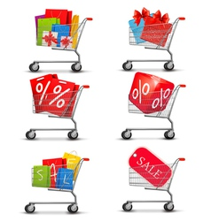 Group of shopping carts full of shopping bags and vector image