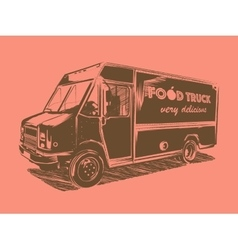 Painted food truck on a pink background vector