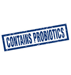 Square grunge blue contains probiotics stamp vector