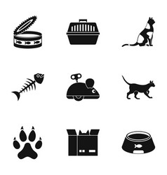 cat toys icons set simple style vector image