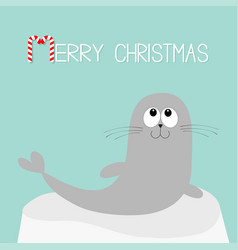 merry christmas candy cane text sea lion harp vector image vector image