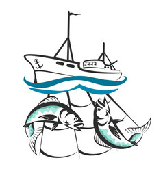 a fishing boat with a catch silhouette vector image