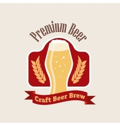 beer logo Flat style emblem isolated on vector image
