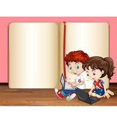 Boy and girl using computer vector image vector image