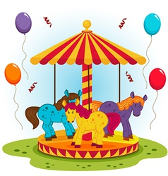 children carousel with horses vector image