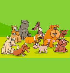 funny dogs group cartoon vector image