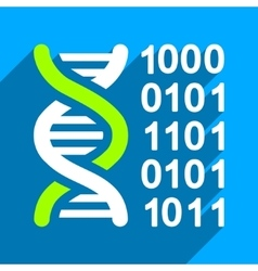Genetical Code Flat Square Icon with Long Shadow vector image vector image