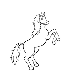Horse standing on the road in field vector image